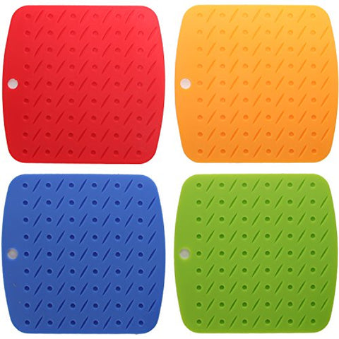 ARAD Colorful Silicone Heat Resistant Pot Holders, Trivet Surface Protection mats, Set of 4