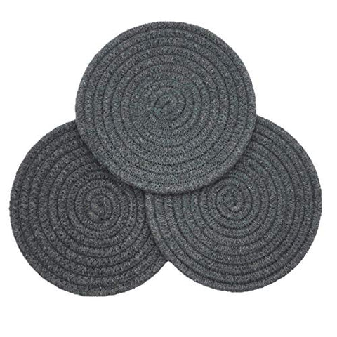 Mia'sDream100% Cotton Thread Weave Pot Holders, Hot Pads, Pot Holders, Spoon Rest for Cooking and Baking, Round Diameter 7 Inches,Set of 3 Pack Dark Grey