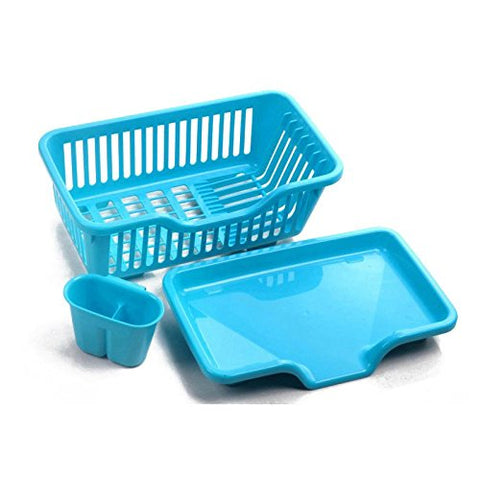 SODIAL Blue Kitchen Sink Dish Drying Rack Drainer Washing Holder Basket Organizer Tray