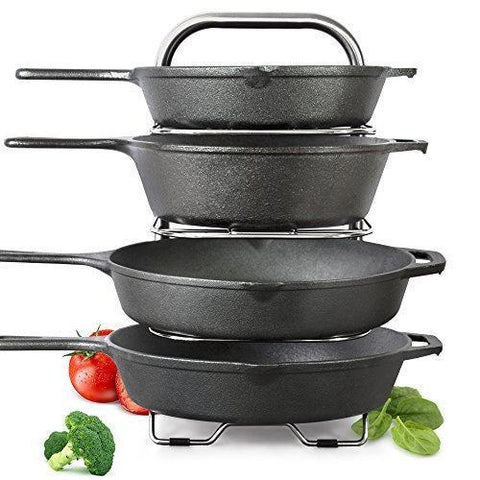 Explore arcafest 5 tier height adjustable pan and pot organizer rack adjust in increments of 1 25 10 11 12 inch cookware lid holder stainless steel 16 5 tall