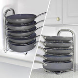 Featured arcafest 5 tier height adjustable pan and pot organizer rack adjust in increments of 1 25 10 11 12 inch cookware lid holder stainless steel 16 5 tall
