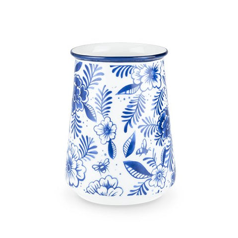 True Fabrication 5534 Indigo Floral Utensil Holder, medium, Multicolor