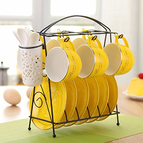HQLCX European Style Ceramic Coffee Cup, Saucer Set, Espresso Espresso, 6 Cup, 6 Dish Suit, Belt Rack, Spoon,Yellow