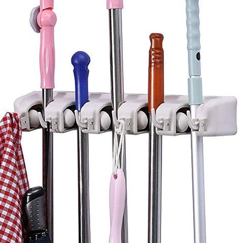 Mop and Broom Holder, Multipurpose Wall Mounted Organizer Storage Hooks
