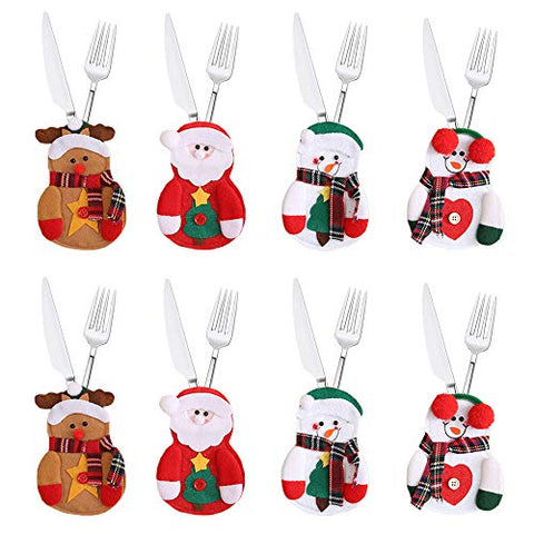 Santa Knife Fork Cover Merry Christmas Spoon Cover Cutlery Bags Xmas Snowman Silverware Holder Tableware Pockets Christmas Hats Table Decorations Ornaments For Holiday Party Home Table Kitchen 8 Pack