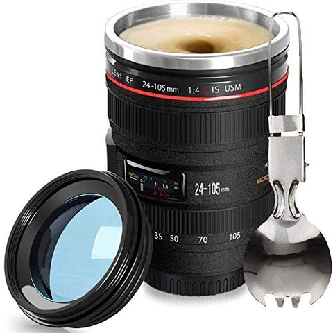 Fanatek-Camera Lens Coffee Mug,Leakproof Stainless Steel Thermos Mug+Foldable Spoon,SLR Transparent Lid Insulated Photographer Camera Lens Tumbler Coffee Cups,Travel Coffee Cup,Coffee Lovers Gift
