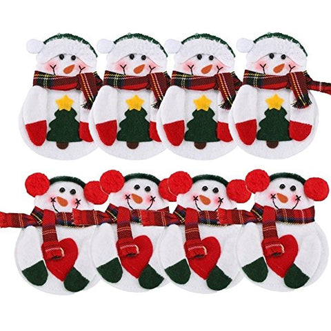 Warmstor 8PCS [Dinner Table Decor] Christmas Snowman Tableware Holder Silverware Holder Pockets Set Knife and Fork Bags