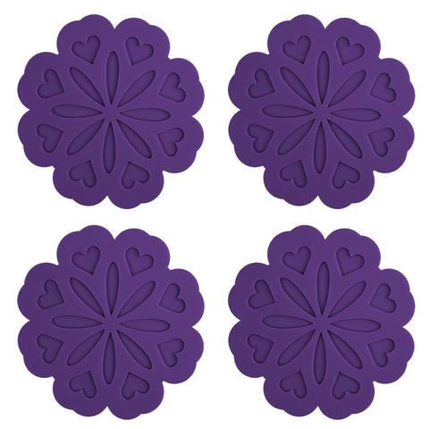 ME.FAN 4 Set Silicone Pot Holders, Trivet Mat, Jar Opener, Spoon Rest and Kitchen Trivet, Non Slip Flexible, Durable, Heat Resistant Dishwasher Available Kitchen Trivet and Pot Pads -Purple