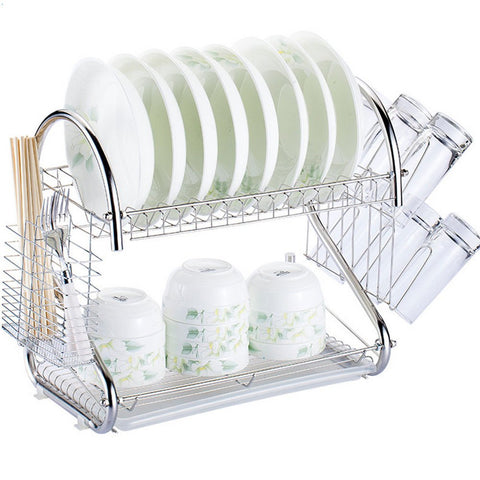 Dish Rack Drying Drainer Kitchen Holder 2 Steel Stainless Organizer Sink Tray Cup Dryer Cutlery Storage Tier Over Tiers Roll