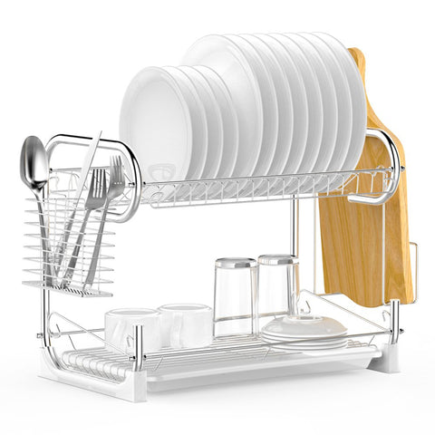 Dish Rack, Ace Teah 2 Tier Chrome Plating Rustless Storage Dish Drying Rack and Drain Board Set with Cutlery Rack, Cutting Board Holder Dish Dryer for Kitchen Counter