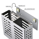 Featured junyuan kitchen wall mount utensil racks flatware hanging closet organizer holder for spoons knives forks chopsticks drainer basket 2 slots cookware cutlery holder with drain holes stainless steel