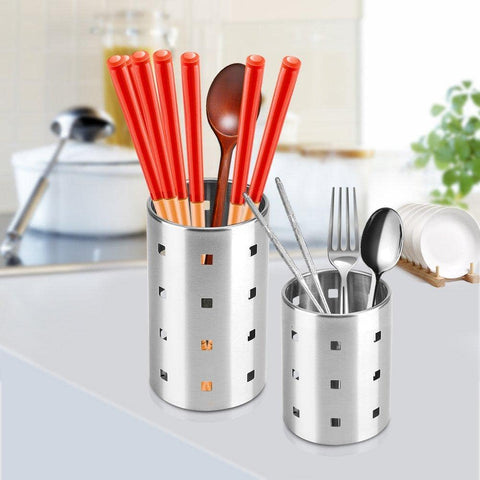 Fdit Chopsticks Holder Stainless Steel Utensil Holder Drying Rack with Hook Circular Hole Tableware Storage Rack Organizer (M)