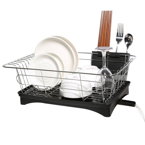 Dish Drying Rack, Stainless Steel Dish Drainer and Tray with Black Rustproof Drainboard Set for Small Kitchen Counter Utensil Holder Beside the Sink by ALLCR