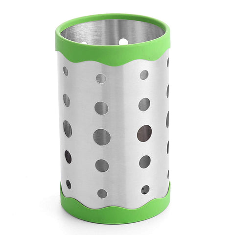 Sunwinc Kitchen Utensil Holder -Utensil Container - Utensil Organizer Caddy - 18/10 Stainless Steel with Antiskid Silicon Rubber Ring Flatware Cutlery Chopsticks Utensil Holder (Green, 7 inch)