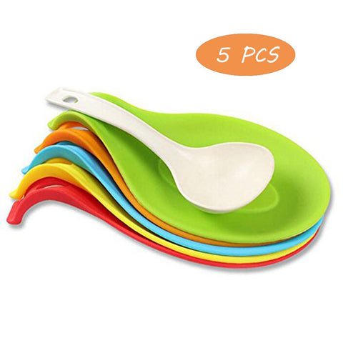 OUZIFISH Kitchen Silicone Spoon Rest Heat Resistant Insulation Mat 5 pcs/set Colorful