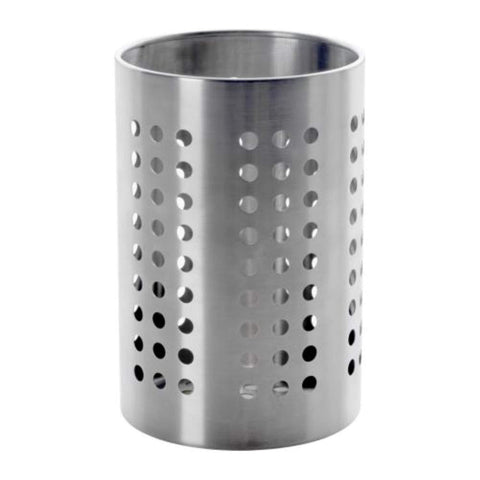 Exclusive chanaksha trading utensil holder utensil container utensil crock flatware caddy brushed stainless steel cookware cutlery utensil holder with drain holes