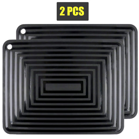 "2 Pack Silicone Trivet Mats/Hot Pads,Pot Holder,9""x12"" Non Slip Flexible Durable Heat Resistant Pot Coaster Kitchen Table Mats (Black)"