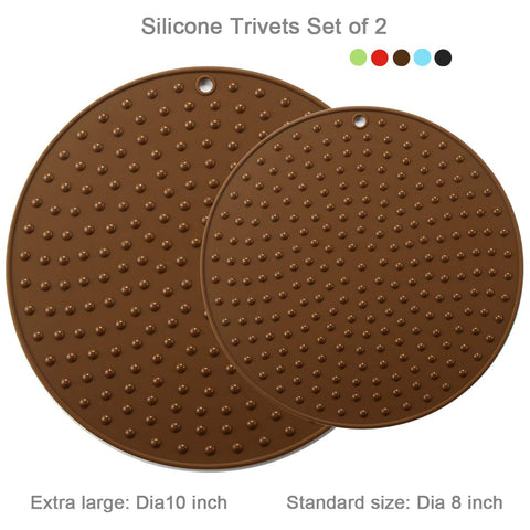 Large Silicone Trivet Mat Teapot Trivet – Coffee Pot Mat Silicone Hot Pot Holder for Table Large Silicone Kitchen Hot Pads for Table Silicone Heat Resistant Mat Kitchen Pot Trivet Large Brown