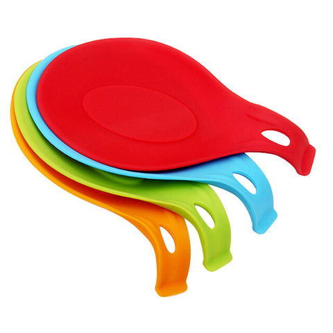 JYS365 Kitchen Utensil Tool Heat Resistant Spoon Fork Silicone Mat Rest Spatula Holder