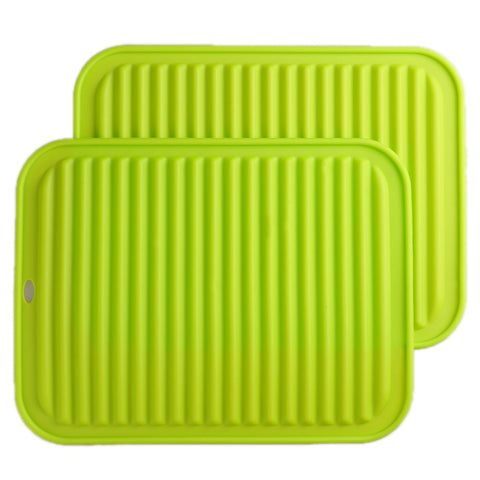 "Silicone Trivets mat Smithcraft 9""X12"" Big Multi-purpose Drying Trivet Mat, Pot Holder, Waterproof, (Set of 2) Non Slip, Flexible, Durable, Dishwasher Safe Green"