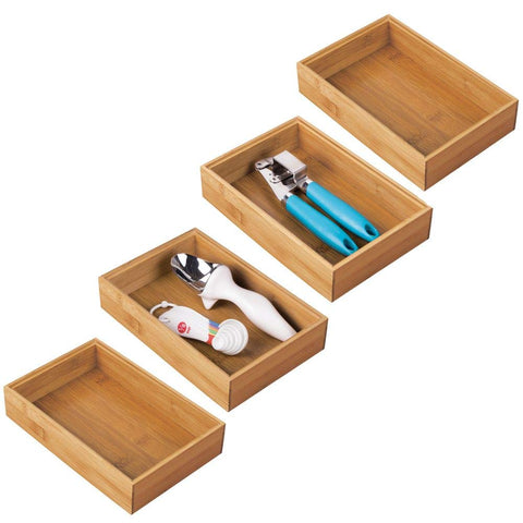 "mDesign Bamboo Kitchen Cabinet Drawer Organizer Stackable Tray Bin - Eco-Friendly, Multipurpose - Use in Drawers, on Countertops, Shelves or in Pantry - 9"" Long, 4 Pack - Natural Wood Finish"