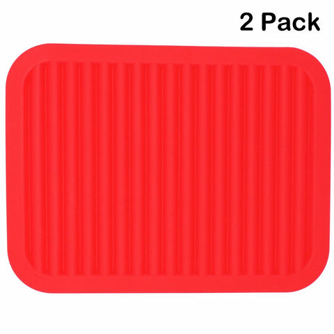 Lucky Plus Silicone Trivet for Hot Dish and Pot Hot Pads Counter Mat Heat Resistant Table Dish Drying Mat or Placemats 2 Pack,Size:9x12 Inch, Color: Red, Shape:Rectangular