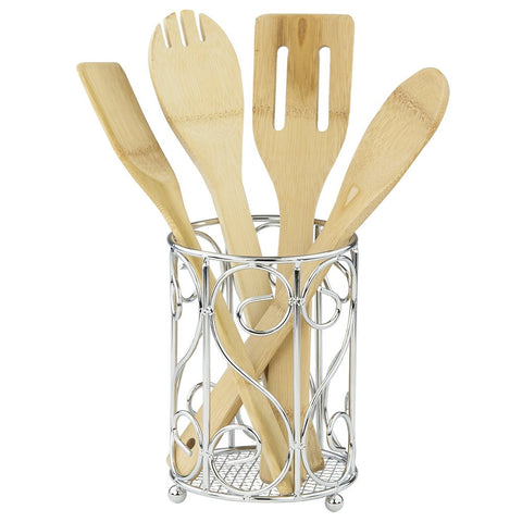 "Home Basics CH40905 Scroll Collection, Chrome Cutlery Holder, 4.62"" x 4.62"" x 6.50"","
