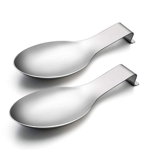 Spoon Rest Set of 2, LIANYU Spatula Ladle Holder, Stainless Steel Utensil Spoon Rest Holder, Brushed Finish, Dishwasher Safe