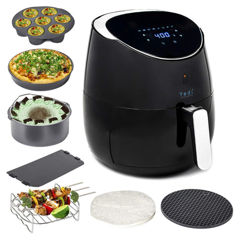 YEDI Total Package Air Fryer (100 Recipes & Deluxe Accessory Kit), 3.7Qt Electric Hot Air Fryers Oven Oilless Cooker, Smart Presets, LED Digital Touchscreen, Nonstick FDA & PFOA Free Basket, 2-Year Warranty, ETL/UL Listed, 1700W