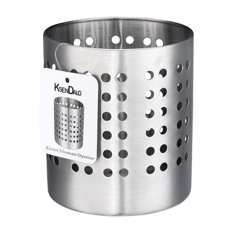 "Kitchen Utensil Holder, KSENDALO Stainless Silverware holder, Kitchen Utensil Drying Cylinder,utility for Kitchen/Home/Office, Diameter 4.33""(M)"
