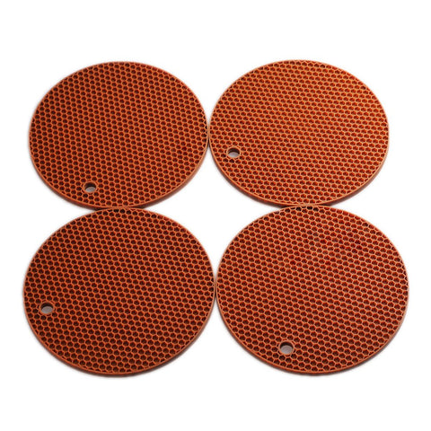 "Smithcraft Silicone Trivets Tablemats 7""X7"" Round Hot Pad and Trivet Mat, Pot Holder,Jar Opener and Spoon Rests, (Set of 4) Non Slip, Flexible, Durable, Dishwasher Safe Color Brown"