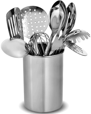 Stainless Steel Kitchen Utensil Set - 10 Modern Utensils, NonStick Heat Resistant Kitchen Gadgets, Turner, Spaghetti Server, Ladle, Serving Spoons, Tongs, Meat Fork, Potato Masher and Utensil Holder