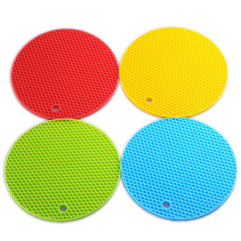 "Smithcraft Silicone Trivets Round Mat Set of 4, 7""x7"" Pot Holder,Jar Opener and Spoon Rests, (Set of 4) Non Slip, Flexible, Durable, Dishwasher Safe Heat Resistant Hot Pads Color Mixed"
