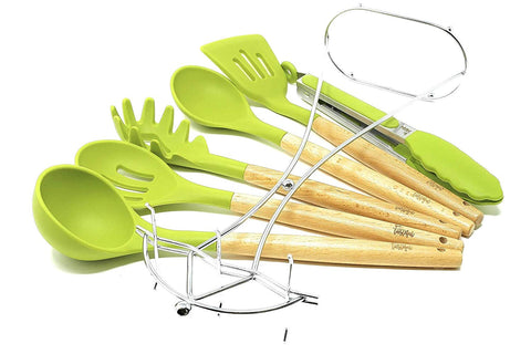 Betasteful Cooking Utensils Kitchen Utensil set | 6 Wooden Silicone Kitchen Utensils Set with Holder, BPA free, Green Nonstick Silicone Utensils Cooking Utensil Set - Kitchen Tools Gadgets