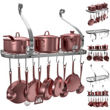 Heavy duty vdomus square grid wall mount pot rack bookshelf rack with 10 hooks kitchen cookware 24 by 10 inch sliver