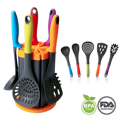 Nylon Kitchen Utensils, MCIRCO 11-piece Silicone Cooking Utensil Set Durable Heat-resistant Non-stick with Non-skid Rotating Stand Attractive Rotating Holder (6 pack)