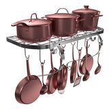 Great vdomus square grid wall mount pot rack bookshelf rack with 10 hooks kitchen cookware 24 by 10 inch sliver