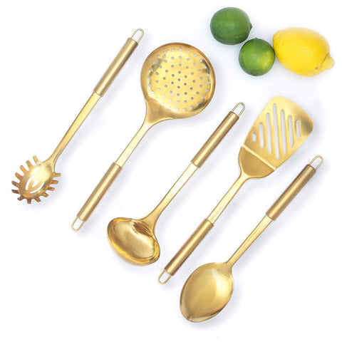 STYLED SETTINGS Gold/Brass Cooking Utensils for Modern Cooking and Serving, Kitchen Utensils -Stainless Steel Cooking Utensils 5 PCS-Gold Serving Spoon, Gold Soup Ladle, Pasta ServingÂ