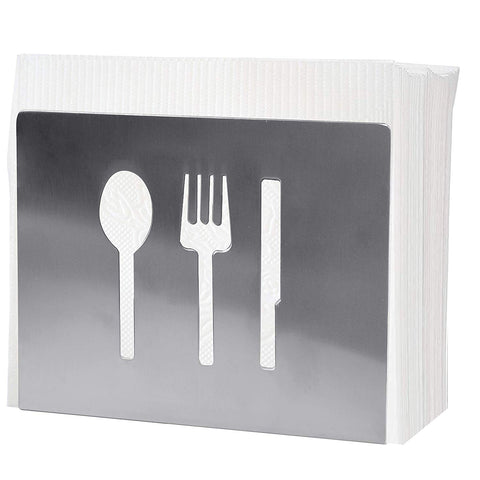 MyLifeUNIT Napkin Holder for Table, Stainless Steel Napkin Holder with Knife Fork Spoon Pattern