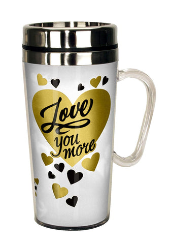 Spoontiques Love You More Insulated Travel Mug, White