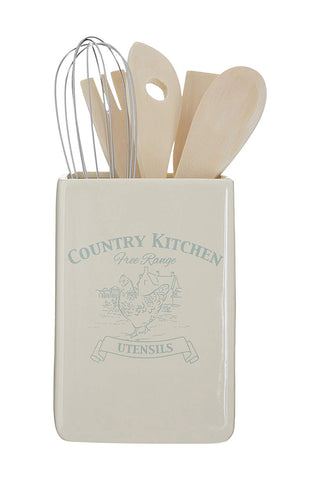Premier Housewares Country Kitchen Utensil Holder with Tools - Cream
