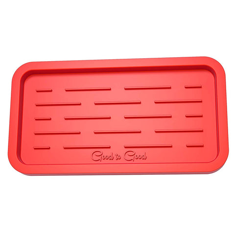 Sponge Holder - Kitchen Sink Organizer - Sink Caddy - Silicone Sink Tray - Soap Holder (Red - Orange)