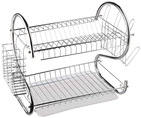 #SimSol - 2 Tier Dish Drying Rack S-Shaped Kitchen Stainless Steel Storage Sink Set Dishes Cups and Cutlery with Removable Plastic Drain Tray Utensil Board Organizer |Ship from US|