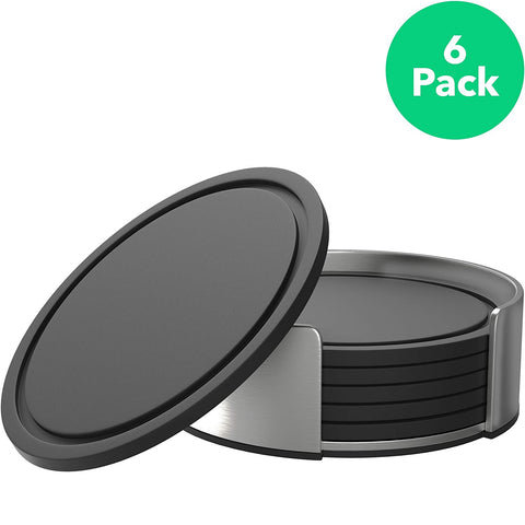 Vremi Drink Coasters Set of 6 with Holder - Round Black BPA Free Silicone with Stainless Steel Coaster Case - Fits Any Size Cup Mug or Glasses to Protect Furniture from Water Marks Scratch and Damage