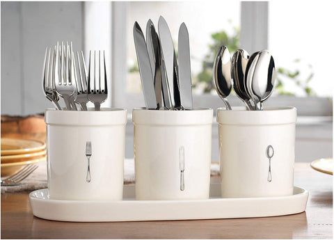 Kitchen Supply Utensil Cutlery Organizer, Holds Napkins, Forks, Spoons, Spatula, Vintage Style Caddy Silverware Holder for Kitchen Countertop Storage, Ceramic Centerpiece