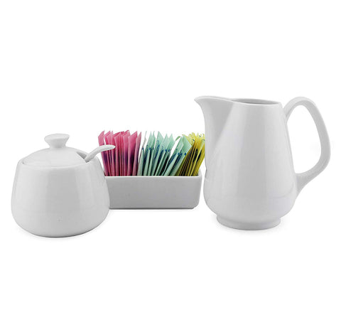 Sugar and Creamer Set - 4-Piece Set w/Cream Pitcher, Sugar Bowl, Spoon & Sweetener Holder, White Ceramic Tea/Coffee Set
