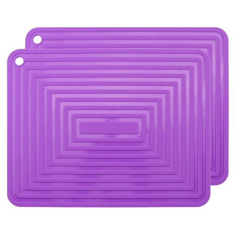 "2 Pack,Silicone Trivet Mats/Hot Pads,Pot Holder,9""x12"" Non Slip Flexible Durable Heat Resistant Pot Coaster Kitchen Table Mats (Purple)"