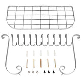 New vdomus square grid wall mount pot rack bookshelf rack with 10 hooks kitchen cookware 24 by 10 inch sliver