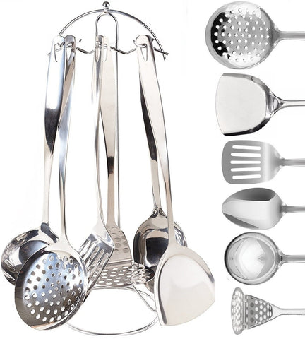 Stainless Steel Cooking & Serving Utensil Set - 7 Piece Kitchen Utensils Set | Countertop Utensil Holder | Spoon, Spatula, Skimmer, Soup Ladle, Potato Masher, Slotted Spatula