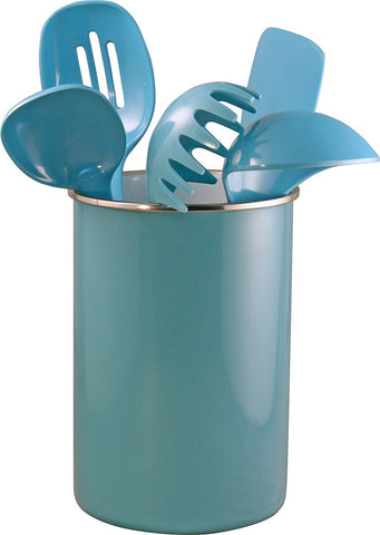 Calypso Basics by Reston Lloyd Enamel on Steel Utensil Holder and 5 Piece Utensil Set (Turquoise)